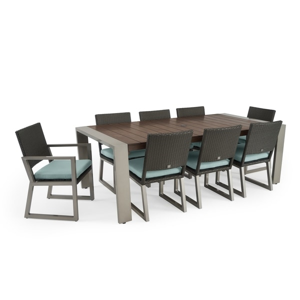 Milo 9pc Espresso Dining Set in Spa Blue by RST Brands