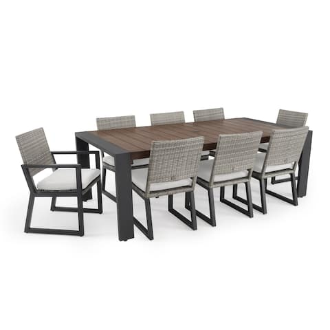 Milo 9pc Grey Dining Set in Moroccan Cream by RST Brands