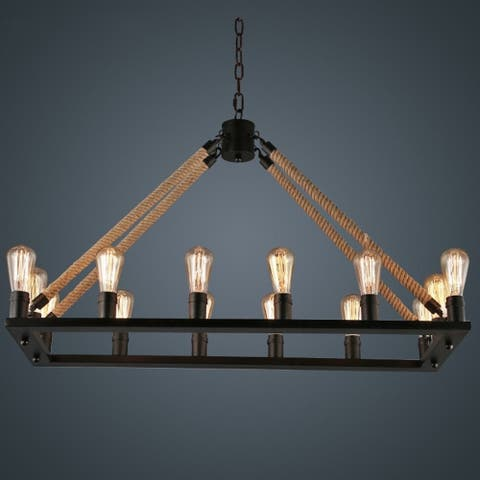 Rustic 16 Light, Rope/Metal Chandelier