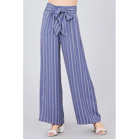 JED Women's High Waist Stripes Wide Leg Pants with Waist Tie