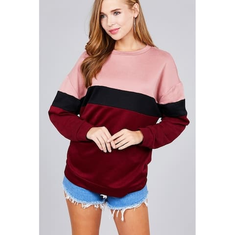 JED Women's Colorblock French Terry Long Sleeve Top
