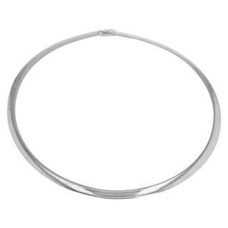 14Kt White Gold 4 Mm Italian Omega Necklace 16 Inch