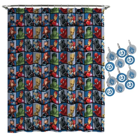 Marvel Avengers Team Shower Curtain and Hooks
