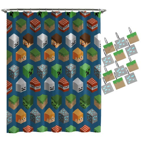Minecraft Isometric Shower Curtain and Hooks