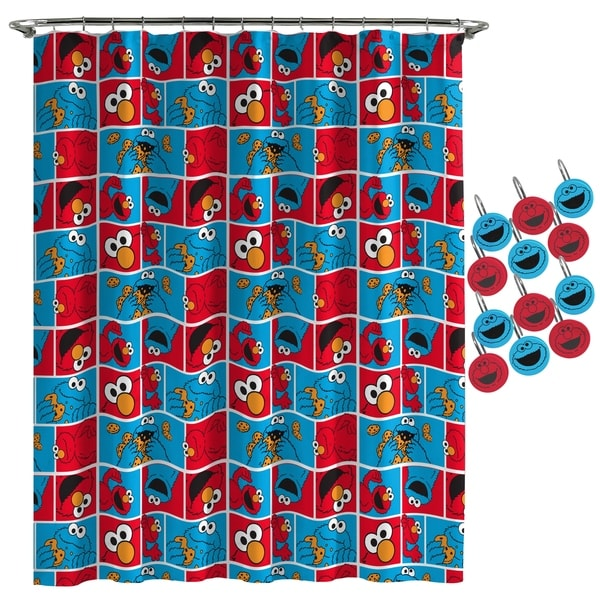 Shop Sesame Street Elmo Cookie Shower Curtain And Hooks