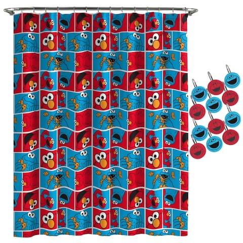 Sesame Street Elmo Cookie Shower Curtain and Hooks
