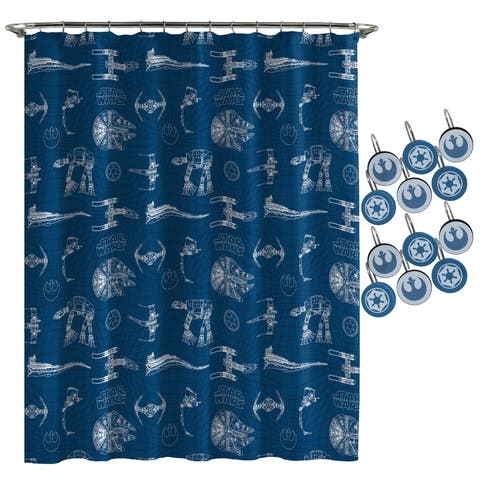 Star Wars Vehicles Shower Curtain and Hooks