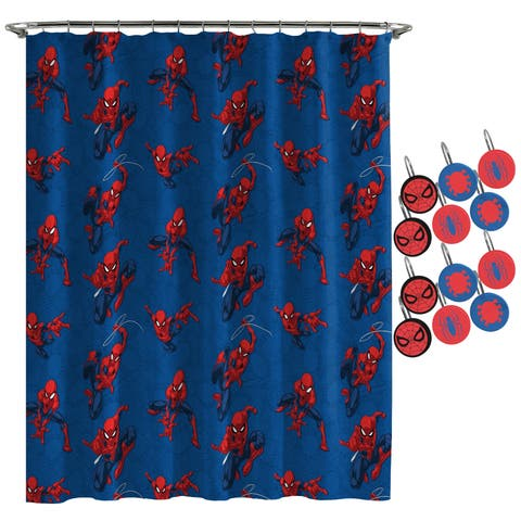 Spiderman Spidey Crawl Shower Curtain and Hooks