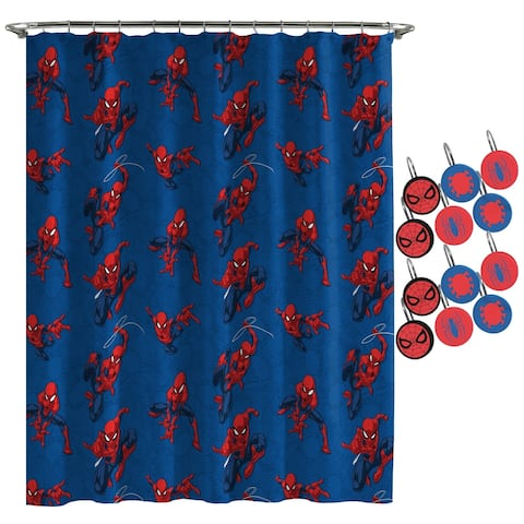Spiderman Spidey Crawl Shower Curtain and Hooks - Blue