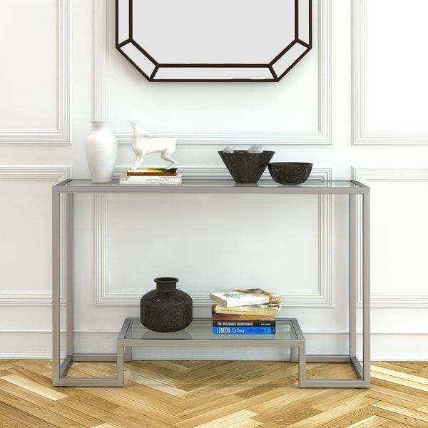 Silver Orchid Spira Satin Nickel Console Table