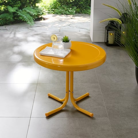 Retro Metal Side Table In Tangerine