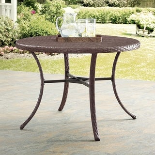 Crosley Furniture Tribeca Driftwood Wicker Round Table