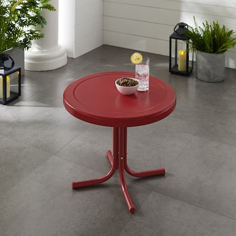 Retro Metal Side Table In Red by Havenside Home