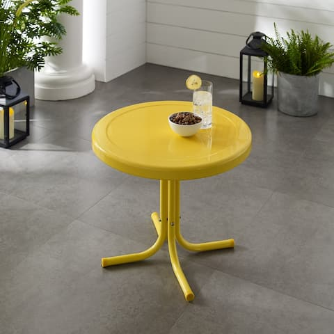 Retro Metal Side Table In Yellow