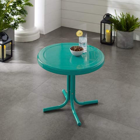 Retro Metal Side Table In Tourquoise