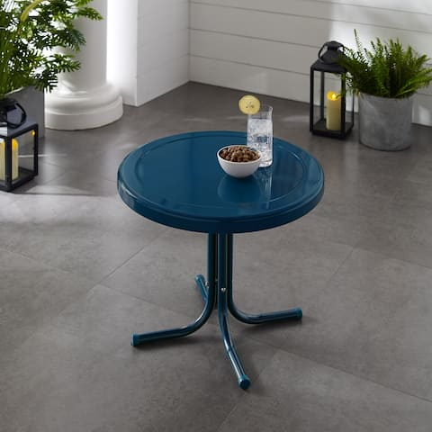 Retro Metal Side Table In Navy