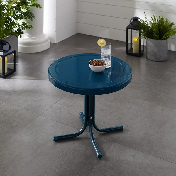 Retro Metal Side Table In Navy. Opens flyout.
