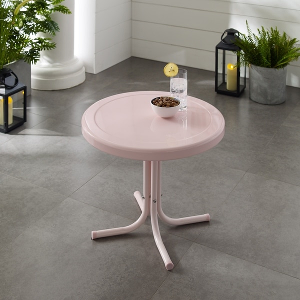 Retro Metal Side Table In Pink
