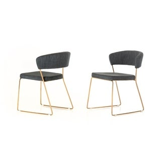 Silver Orchid Quirk Grey and Rosegold Dining Chair (Set of 2)