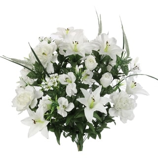 40 Stems Artificial Full Blooming Lily, Rose Bud, Carnation and Mum with Greenery Mixed Flower Bush, Cream