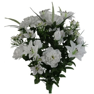 40 Stems Artificial Full Blooming Lily, Rose Bud, Carnation and Mum with Greenery Mixed Flower Bush, White