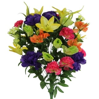 40 Stems Artificial Full Blooming Lily, Rose Bud, Carnation and Mum with Greenery Mixed Flower Bush, FRESH MIX - FRESH MIX