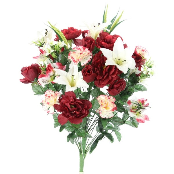 40 Stems Artificial Full Blooming Lily, Rose Bud, Carnation and Mum with Greenery Mixed Flower Bush, Burg/Cream - BG/CM