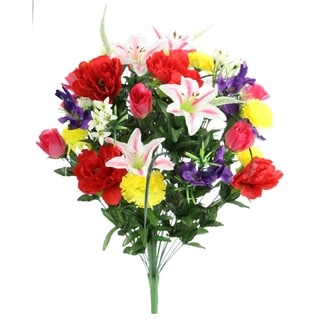 40 Stems Artificial Full Blooming Lily, Rose Bud, Carnation and Mum with Greenery Mixed Flower Bush, Spring