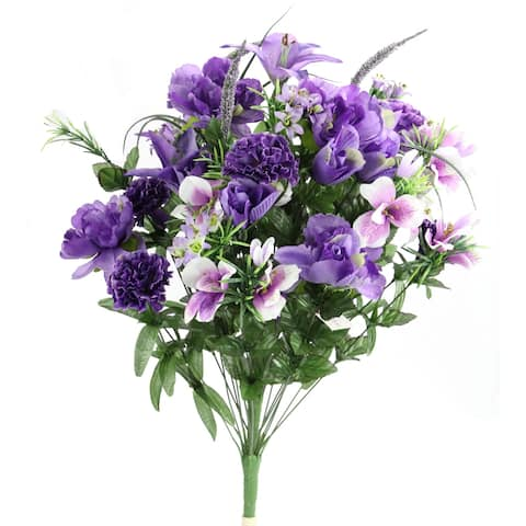 40 Stems Artificial Full Blooming Lily, Rose Bud, Carnation and Mum with Greenery Mixed Flower Bush, Lav Mix - LAV MIX