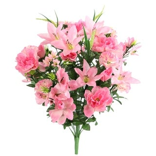 40 Stems Artificial Full Blooming Lily, Rose Bud, Carnation and Mum with Greenery Mixed Flower Bush, Pink