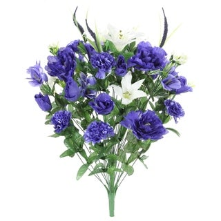 40 Stems Artificial Full Blooming Lily, Rose Bud, Carnation and Mum with Greenery Mixed Flower Bush, Blue