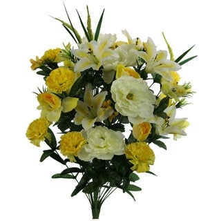 40 Stems Artificial Full Blooming Lily, Rose Bud, Carnation and Mum with Greenery Mixed Flower Bush, Yellow