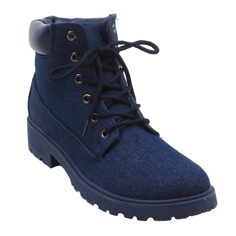 BLUE Womens Lace Up Mid-Calf Fashion Combat Boots