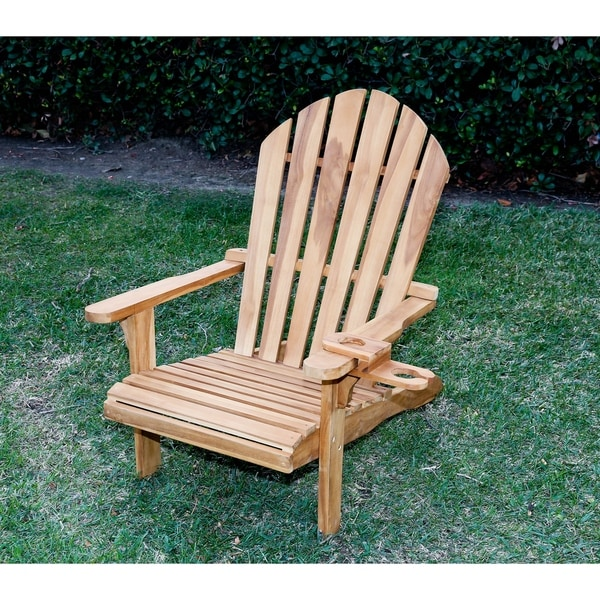Wood Combo Chair: Shop Redondo Teak Wood Adirondack Chair And Wine Holder