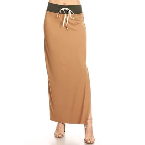 Women's Casual Basic Solid Color Block High Waist Drawstring Maxi Skirt