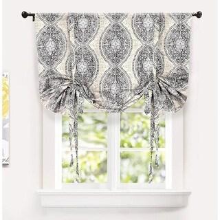 DriftAway Adrianne Damask/Floral Pattern Printed Tie-up Shade
