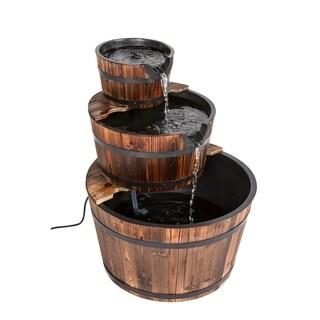 Kinbor 3 Tier Outdoor Water Fountain Rustic Wood Barrel Fountain Waterfall Fountain with Pump