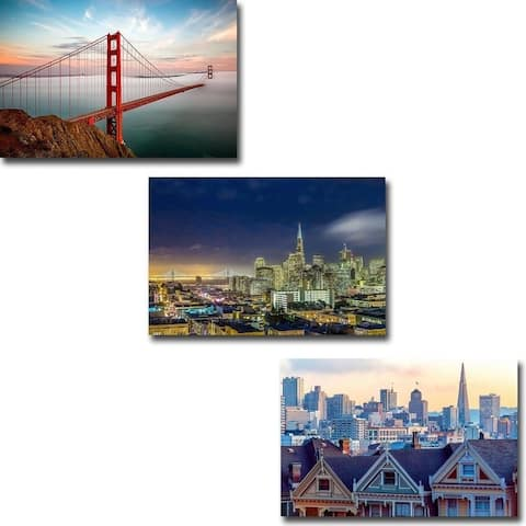 San Francisco & Golden Gate by Dave Gordon 3-pc Gallery Wrapped Canvas Giclee Art Set (16 in x 24 in Each pc, Ready to Hang)