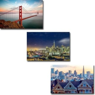 San Francisco & Golden Gate by Dave Gordon 3-pc Gallery Wrapped Canvas Giclee Art Set (12 in x 18 in Each pc, Ready to Hang)