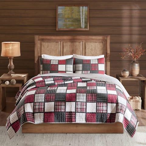 Woolrich Tulsa Red/ Grey Oversized Plaid Print Cotton Quilt Set