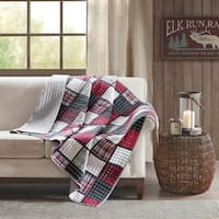 Woolrich Tulsa Red/ Grey Oversized Plaid Print Cotton Quilted Throw