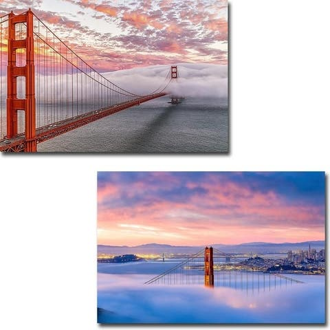 Evening Commute & Anomaly by Dave Gordon 2-pc Gallery Wrapped Canvas Giclee Art Set (16 in x 24 in Each pc, Ready to Hang)
