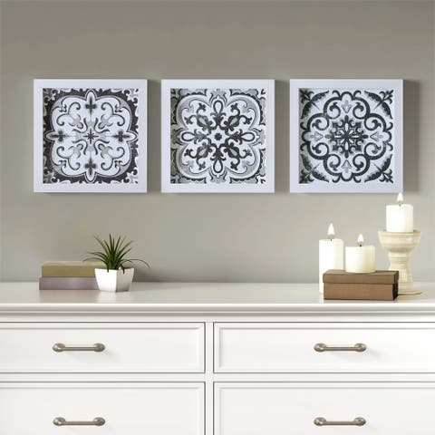 Madison Park Black and White Tiles Black/White 3 Piece Deco Box Wall Art Gel Coating