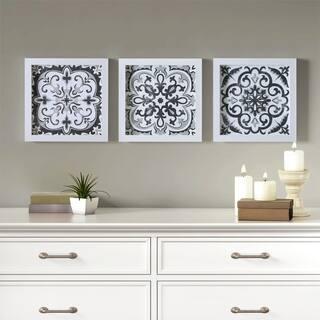 Madison Park Black and White Tiles Black/White 3 Piece Deco Box Wall Art Gel Coating
