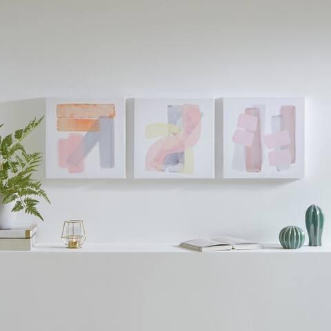 Urban Habitat Grey and Theory 3 Piece Canvas Art Set Gel Coating - Multi