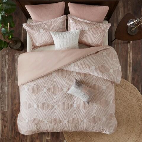INK+IVY Ellipse Blush Cotton Jacquard Duvet Cover Set