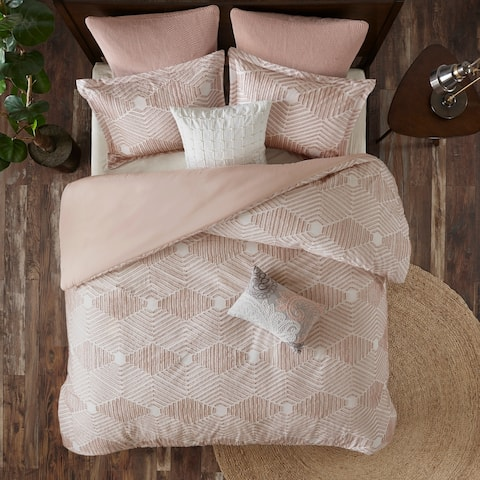 INK+IVY Ellipse Blush Cotton Jacquard Duvet Cover Set