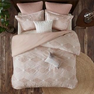 The Curated Nomad Latia Blush Cotton Jacquard Duvet Cover Set