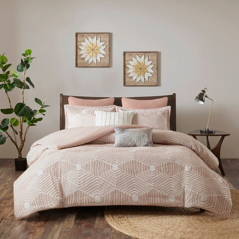 INK+IVY Ellipse Blush Cotton Jacquard Comforter Set