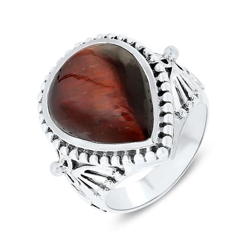 13.80 Carat Genuine Red Tiger Eye .925 Sterling Silver Oxidized Ring